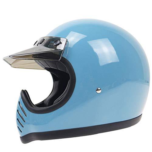 YSH Cara Completa Casco De La Motocicleta Retro Vintage Thompson Capacetes Motociclista Off Road Jet Cascos para Moto Hombres Mujeres,Blue-M57-58cm