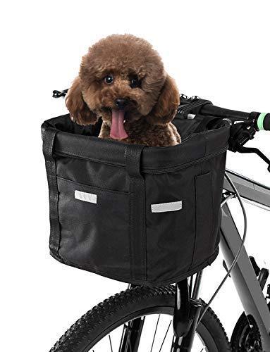 Lixada, cestino anteriore per bicicletta, pieghevole, rimovibile, con telaio in alluminio, per cani e gatti, with canvas strap