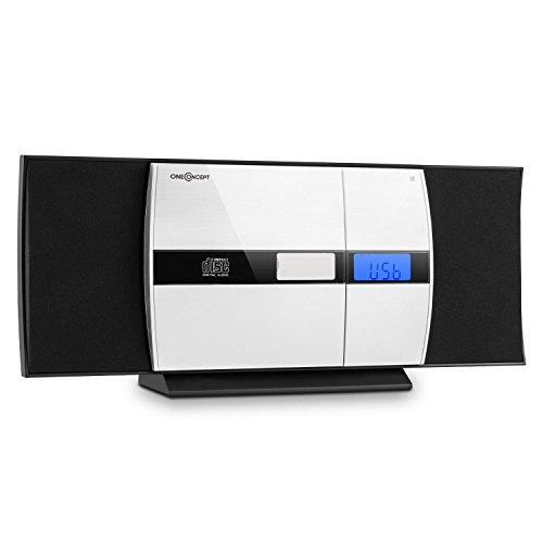 oneConcept V-15 • Stereoanlage • Kompaktanlage • Microanlage • MP3-fähiger CD-Player • Aluminium-Blende • LCD-Display • USB • AUX-IN • UKW • Wecker • Fernbedienung • Wandmontage • schwarz