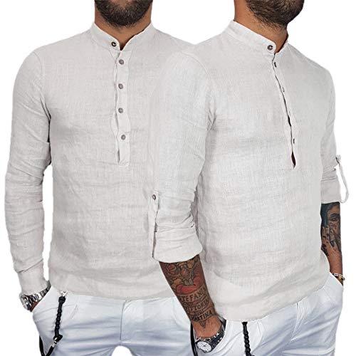 YunYoud Herren Einfarbig Baumwolle und Leinen Langarm-Top Coole Hemden schöne männer günstige Moderne Hemd Ohne Kragen Herren Business Modische Herrenhemden Baumwollhemd -