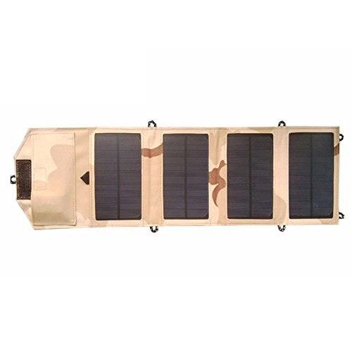 Cikuso 7W Portable Solar Ladegeraet Fuer Handy iPhone Folding Mono Solar Panel + Faltbare Solar USB Ladegeraet
