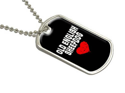 Old English Sheepdog Love–Schwarz–Militär Hund Tag Gepäck Schlüsselanhänger (Navy Old Hund)