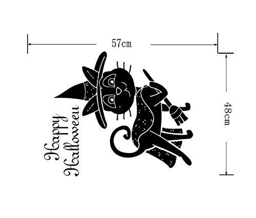 qiulv Niedlich Katze Halloween Mauer Aufkleber Kunst Wandgemälde Tier Tapete Glücklich Abziehbilder Abnehmbar Wasserdicht DIY Zuhause Küche Fenster Dekoration, 10 Set, 57 * 48cm