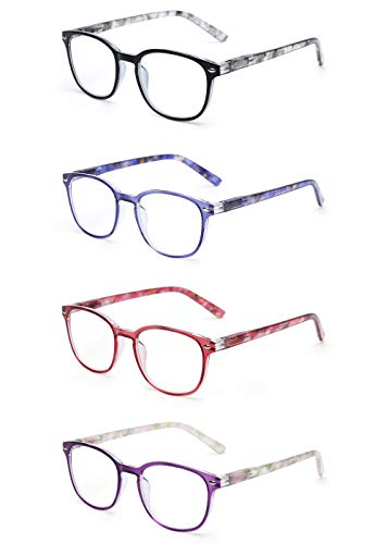 JM Lesebrille Satz von 4 Qualität Federscharnier Leser Damen Herren Brille Für Lesen +0.75 Mischfarbe (75 Leser)