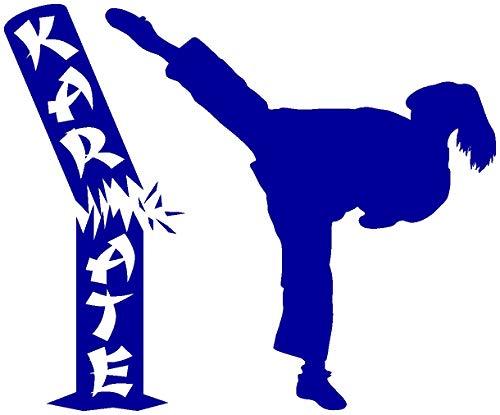 Samunshi® Aufkleber Karate Karatekämpferin mit Stamm in 10 Größen und 25 Farben (10x8,2cm brillantblau)