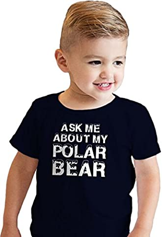 Crazy Dog TShirts - Toddler Ask Me About My Polar Bear Cool Animal Face Flip Up T shirt (blue) 2T -