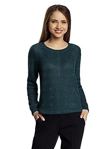 oodji Ultra Damen Pullover mit Bindebändern am Rücken, Grün, DE 40 / EU 42 / L