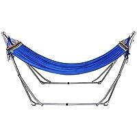 UNHO Hamaca con Soporte Plegable para Jardín Exterior Interior Viaje Camping Soporte de Metal y Hamaca de Nylon Incluye Bolsa de Almacenamiento Capacidad de Carga 200kg