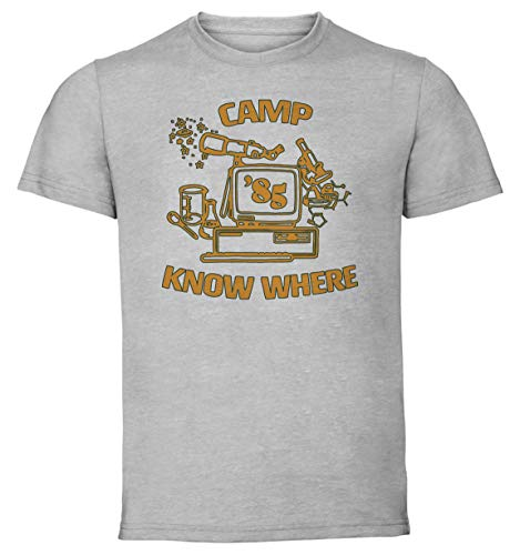 Instabuy T-Shirt Unisex - Grey Shirt - Tv Series - Stranger Things - Camp Know Where - Dustin 1985 Size Large