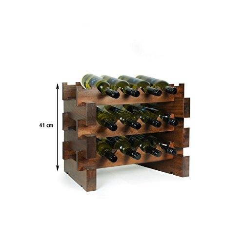 Weinregal 'Casanova', für 12 Flaschen, Holz Buche nuss, stapelbar / erweiterbar - H 42 x B 55 x T...