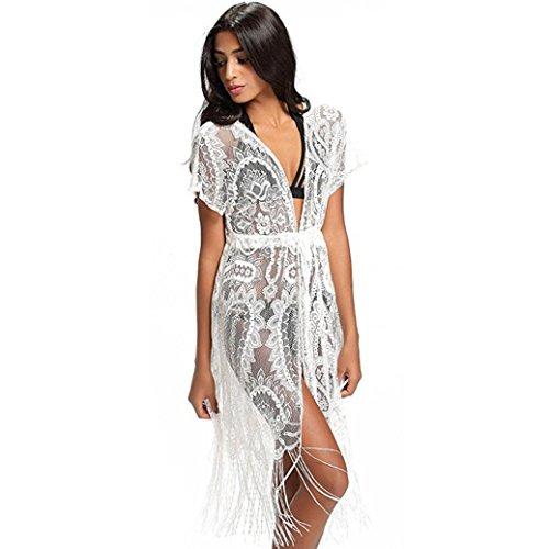 Tpulling Maillot de Bain Femme 1 Pieces ❤️ Femme Bain Gland Plage Bikini Cardigan Châle Maillot Blouse Couvrir ❤️ 1 centime Produit white
