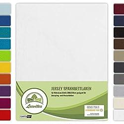 leevitex® Farbenfrohes Spannbettlaken für WASSERBETTEN & BOXSPRINGBETT Spannbetttuch Jersey 200 x 220cm, 40cm Steghöhe 100% Baumwolle ca. 160 g/m² (Weiß)