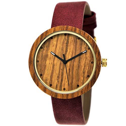 Elegante Pure Time® Designer Damen-Uhr Öko Natur Holz-Uhr Armband Uhr Analog Klassisch Quarz-Uhr Armbanduhr Lila Braun Gold Leder-Armband Holz Ziffernblatt