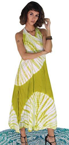 Third Eye Export, Vintage-Stil, indische 90er-Jahre, Hippie-Kleid mit Krawatte, indisches Muster, für den Strand, ärmellos, Bohemian-Stil, für Frauen und Mädchen, modisches Viskosekleid Small grün -