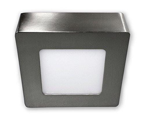 6 W LED Aufbauleuchte Panel Lampe Deckenspot 230 V Eckig - Edelstahl Optik alu gebürstet