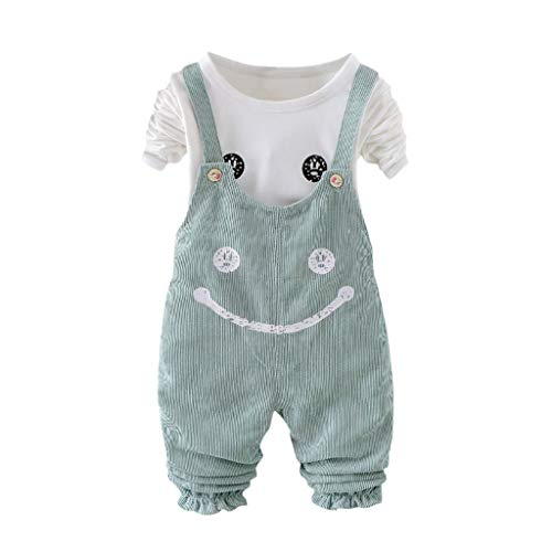 nder langärmelige Mädchen süße Smiley-Gesicht Katze und Riemen Hose Set Baby Blumen Crop Tops +Jeanshosen Kinder Kleidung Sets Lange Hülse Kapuzenpullover Gestreift Warm Outfits ()