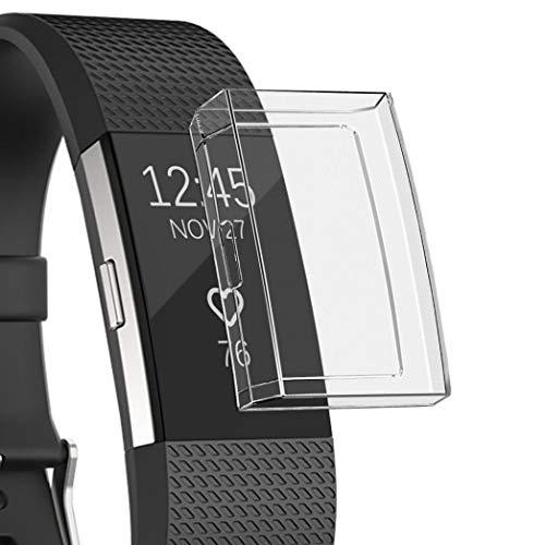 Altsommer Schutz für Fitbit Charge 2 Smart Watch TPU Alles Inklusive Hülle, Ultra-dünne Schutzhülle Bunten Farben Weiches Kasten Abdeckungs Oberteil Hülse DamenHerren Grün (Clear)