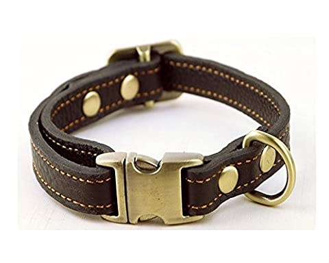 Strimm Luxury Classic Adjustable Genuine Tanned Leather Pet Dog Canine Collar with Quick Release Metal Buckle for Small Sized