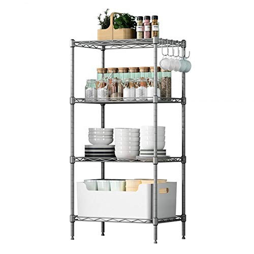 MLQ 4 Tier Shelving Units Wire Shelving Shelving Shelving Units Space Living Kitchen Racks Balkon Floor Lagerung Rack Bad Bad für Küche -