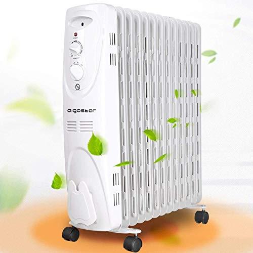 Aigostar - Radiateur à bain d'huile portable, 3 niveaux de puissance et thermostat réglable.