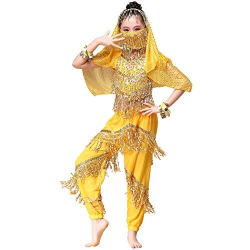 Magogo Bauchtanz Kostüm Mädchen Karneval Outfit Glänzende Party Kostüm, Kinder Arabische Prinzessin Kleidung Cosplay Dancewear (L, Gelb)