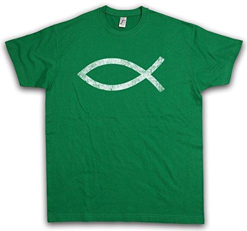 Urban Backwoods ICHTYS T-Shirt – Fisch Christentum Zeichen Gott God Jesus Fish Christ Christian Sign Kirche Church Catholic Symbol Größen S – 5XL (Kirche Zeichen)