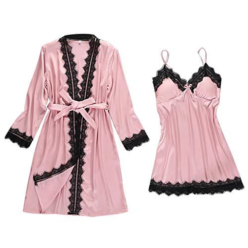 Masoness Frauen Neue sexy Spitze Leibchen Mini Nachthemd + Bowknot Lange Robe mit gürtel nachtwäsche Set Dessous