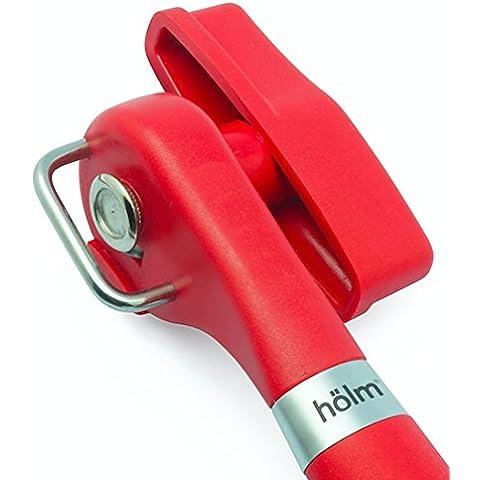 hölm - Apriscatolemanuale ergonomico professionale, lascia i bordi lisci, taglio laterale, design con facile rotazione e buona impugnatura morbida Rosso