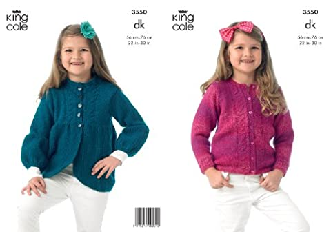 King Cole Girls Double Knitting DK Pattern Long Sleeve Cardigan & Jacket with Heart Detail 3550