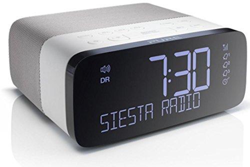 Pure Siesta Rise Bluetooth Radiowecker (Digitalradio, DAB und UKW-Radiowecker, Bluetooth, USB, AUX, Sleep-Timer, Weckfunktion, CrystalVue Display, 20 Senderspeicherplätze), Weiß