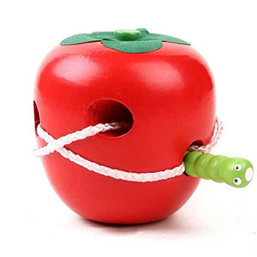 Atommy 1Pcs Juego de rompecabezas de madera Threading Toy Fruit Kids (Apple)