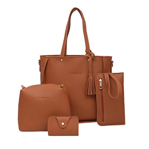 Manadlian Handtasche Damen, 4 STÜCK Crossbody Handtasche Schultertaschen Umhängetasche Geldbörsen Messenger Bag Damen 4 Sets Handtasche (Braun)