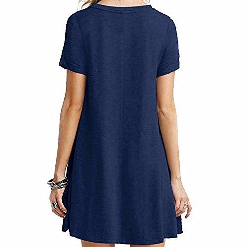 4be66b2f0c6e1f EMMA Damen Casual Rundhals kurzarm Loose Fit einfabrige Baumwolle T-Shirts  Sommer Kleider Dark Blau