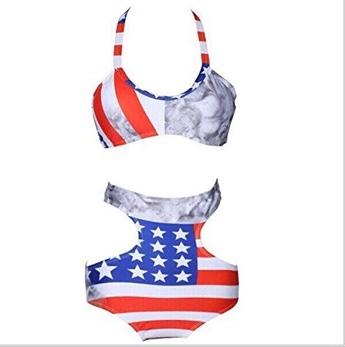 Generisch Hohe Taille Bikini Bademode in Europa und Amerika Flagge hoher Taille Körper schwimmen Anzüge L