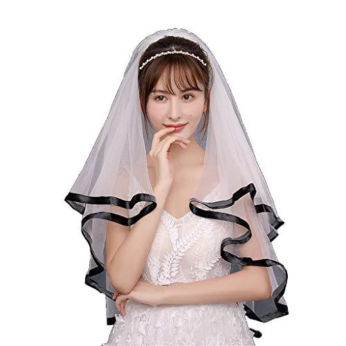 Zcm velo da sposa, new swiss black bordato morbido filato doppio strato velo corto con pettine per capelli può coprire il velo della sposa abito da sposa accessori