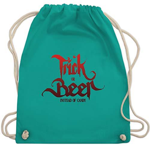 Halloween - Trick or Beer Halloween Typo - Unisize - Türkis - WM110 - Turnbeutel & Gym Bag
