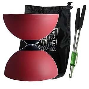 Diabolo Henrys Circus avec axe noir en Téflon, type All-round (Rouge) - avec Baguettes en Aluminium pro + Sac de Transport