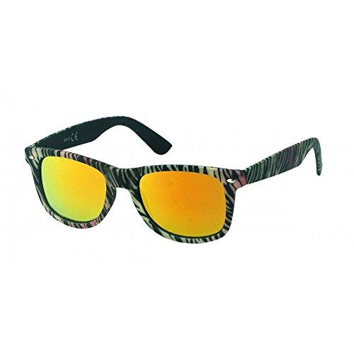 Chic-Net Sonnenbrille farbenfroher Print bunt verspiegelt 400 UV Nerd Wayfarer Stil orange