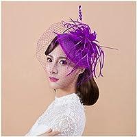 Bonnet donna, clip di leader del partito di modo delle donne del fiore della piuma Cappello Wedding Columbia Retro elegante fiore piuma coperto di fiori Xagoo (stile 4)