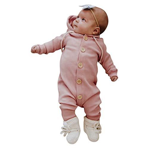 Alwayswin Neugeborenes Langarm Strampler mit Kapuze Baby Mädchen Jungen Langarm Overall Kleidung Feste Baumwolle Spielanzug Mode Süß Kapuzenoverall Bequem Bodysuit Baby-Outfits -