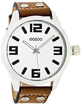 Oozoo Mädchen-/Damenuhr mit Lederband 34 MM Weiss/Cognac JR156