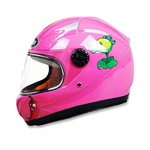 NJ Helm- Kinder Helm Winter Windproof Warm Cartoon Junge Mädchen Full Face Helm (Farbe : Pink)