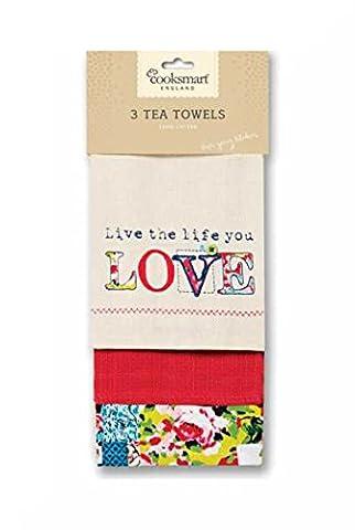 100% coton t-towels Lot de 3par Cooksmart & cadeau gratuit