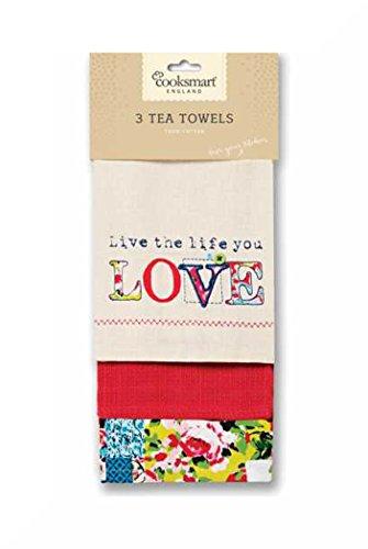 100% cotone t-towels Confezione da 3CookSmart & regalo Oriental Patchwork