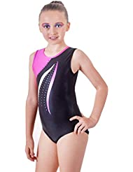 Deluxe Edition 'Mambo' Cerise Pink & Jet Black with Wave and Diamante detail Sleeveless Gymnastic Leotard (5-6 Años)