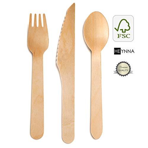 HEYNNA ® Einwegbesteck Set umweltfreundlich, aus Holz 100% biologisch abbaubar ♻ Holzbesteck 120 Stück (40 Holzmesser, 40 Holzgabeln, 40 Holzlöffel)