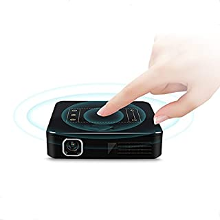 AIJIWU Android 7.1 Mini Pocket 4K LED Projector, Touch PanelSmart DLP Home Theater video Projector Slim Wireless Bulid-in Batteries and LiveTV Services