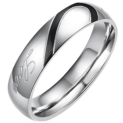 Flongo Partnerringe Damenring Herrenring Ring Edelstahl Band Ring Silber Valentine Paar Ringe Verlobung Engagement Verlobungsringe Hochzeit mit Real Love Gravur Herz Herren 77MM