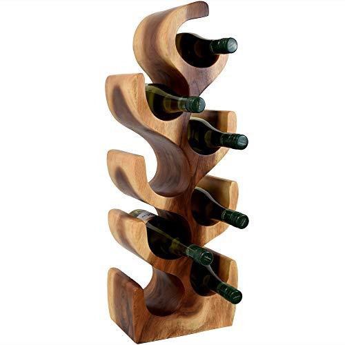 Teako Design Weinregal Weinständer Teramo aus Massivholz Teakholz - besonders stilvoll und elegant für 8 Flaschen - 27 x 19 x 70 cm (BxTxH)