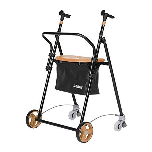 Andador para ancianos | De hierro plegable | Con frenos traseros| Con cesta asiento y respaldo | Color salmón